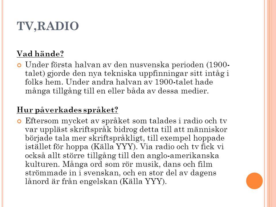 TV,RADIO Vad hände