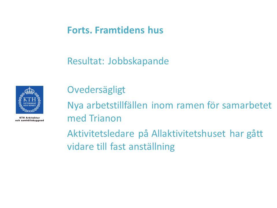Forts. Framtidens hus Resultat: Jobbskapande. Ovedersägligt. Nya arbetstillfällen inom ramen för samarbetet med Trianon.