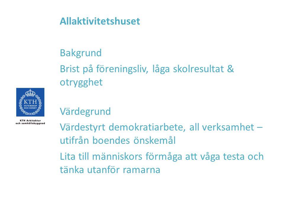 Allaktivitetshuset Bakgrund. Brist på föreningsliv, låga skolresultat & otrygghet. Värdegrund.