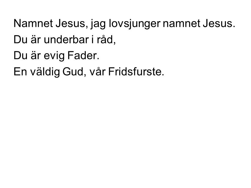 Namnet Jesus, jag lovsjunger namnet Jesus.