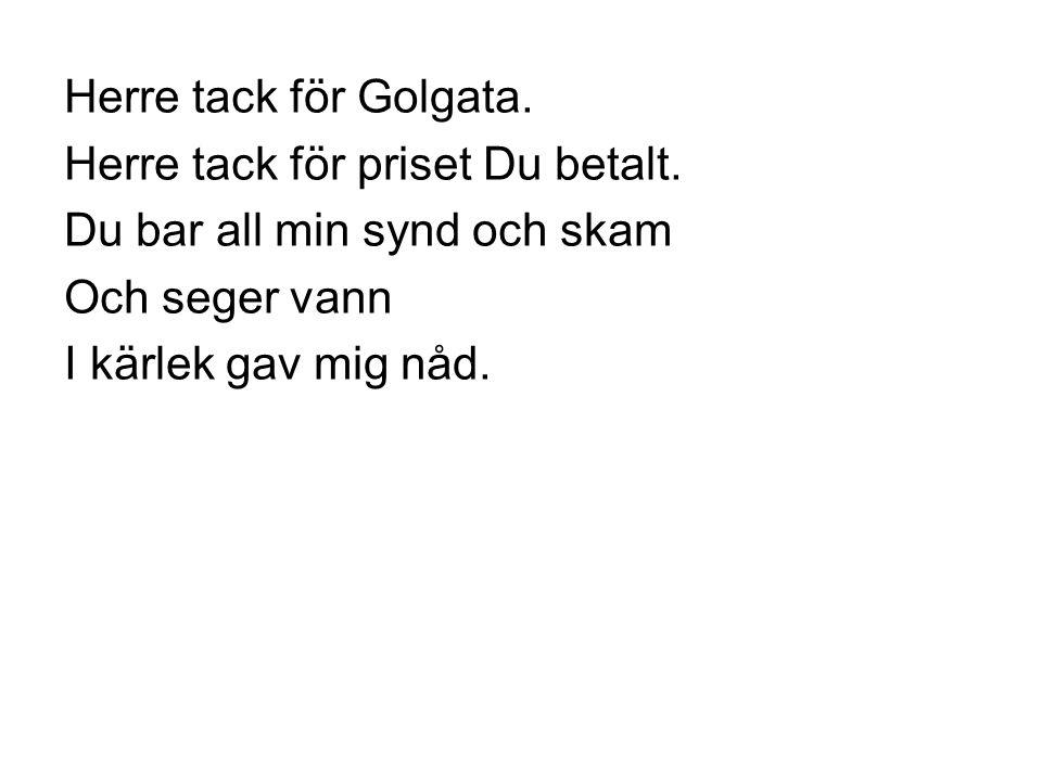 Herre tack för Golgata. Herre tack för priset Du betalt. Du bar all min synd och skam. Och seger vann.