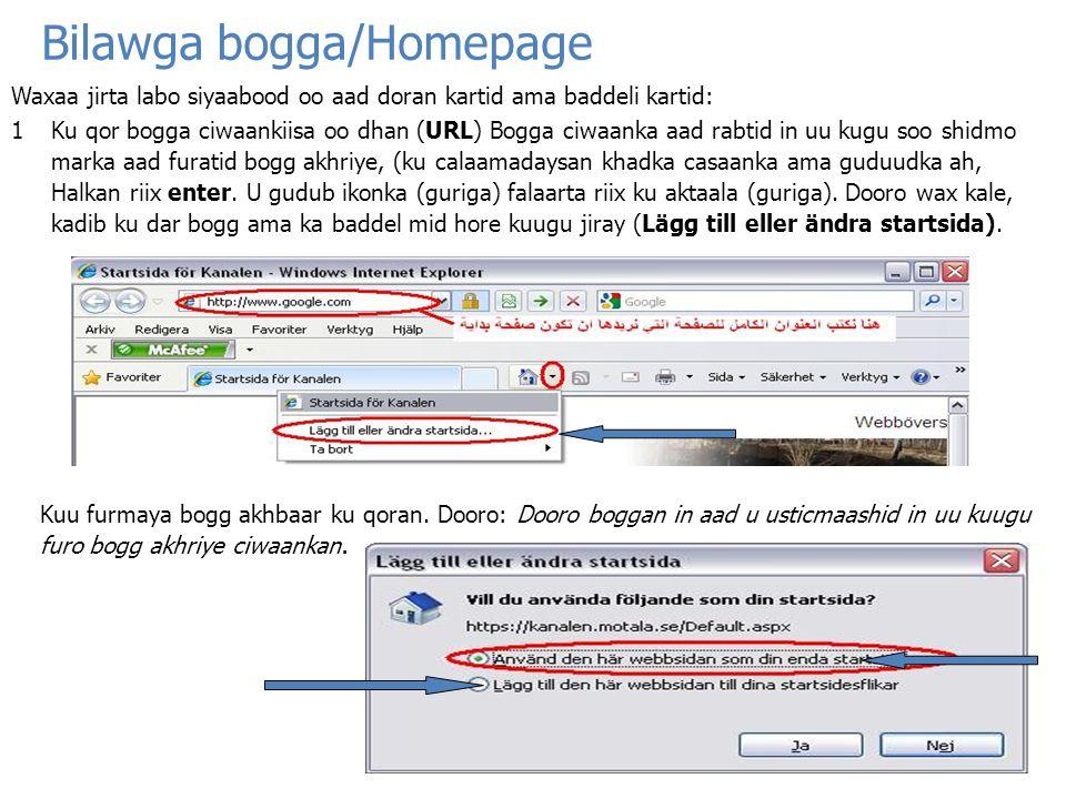 Bilawga bogga/Homepage