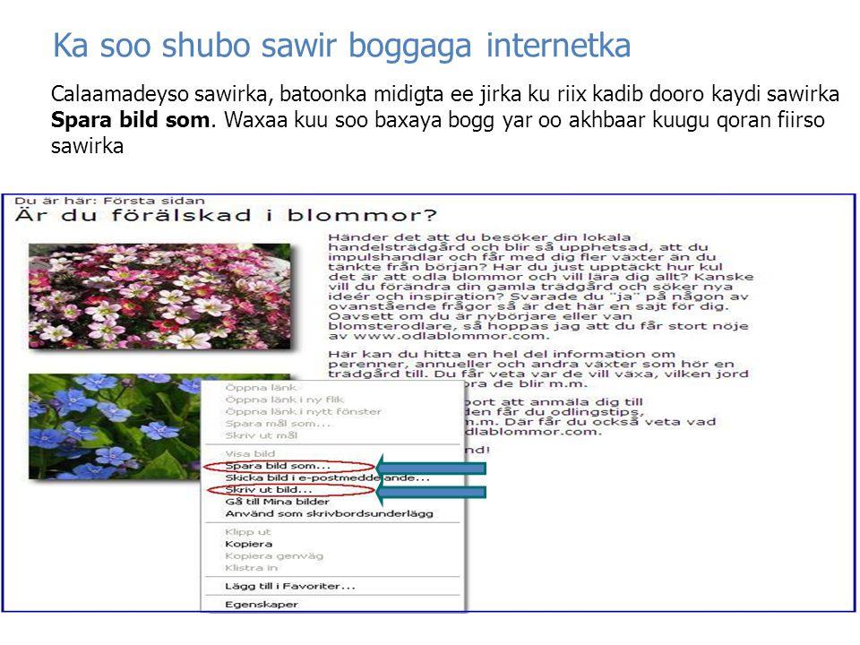 Ka soo shubo sawir boggaga internetka
