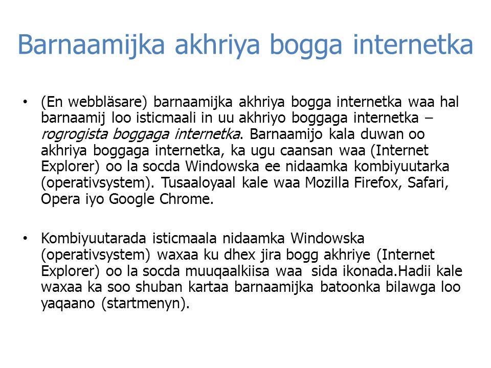 Barnaamijka akhriya bogga internetka