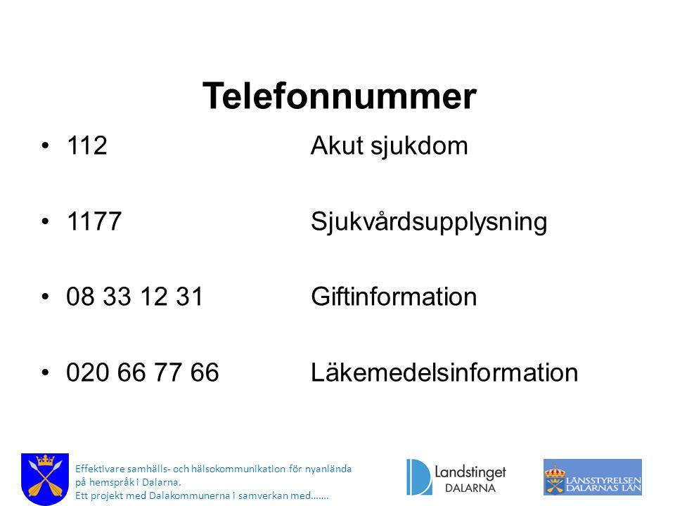 Telefonnummer 112 Akut sjukdom 1177 Sjukvårdsupplysning
