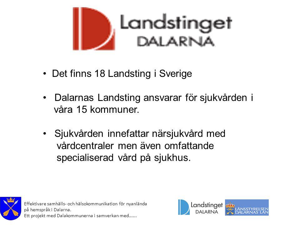 Det finns 18 Landsting i Sverige