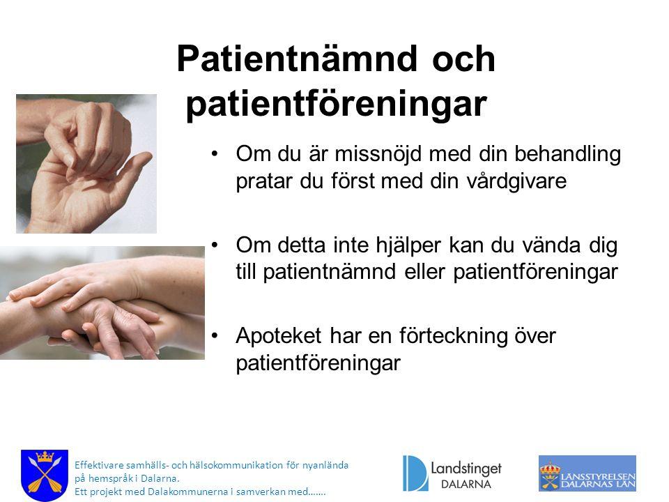 Patientnämnd och patientföreningar