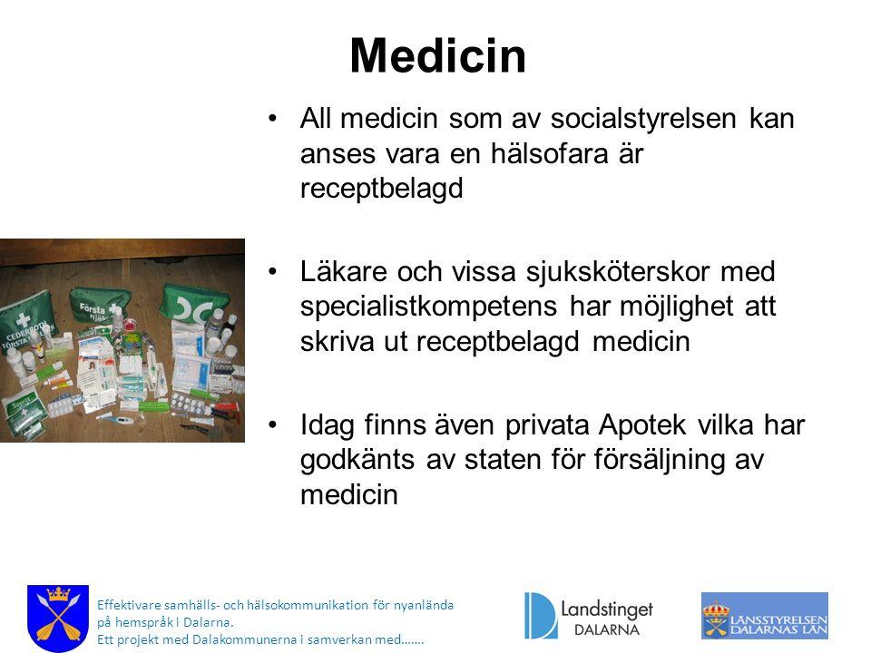 Medicin All medicin som av socialstyrelsen kan anses vara en hälsofara är receptbelagd.