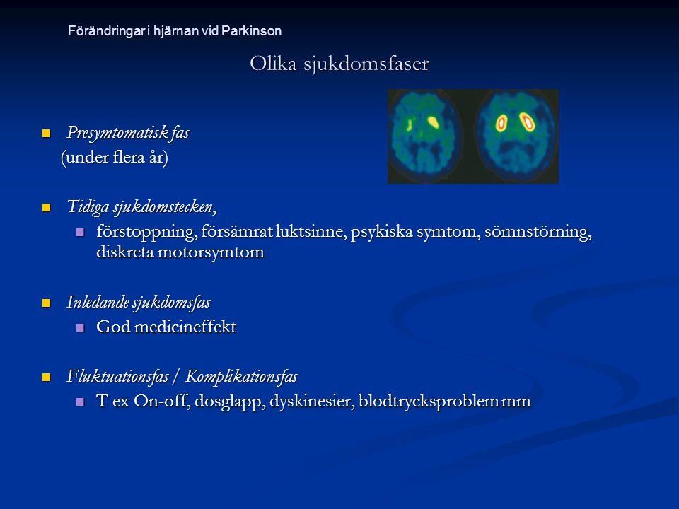 Olika sjukdomsfaser Presymtomatisk fas (under flera år)