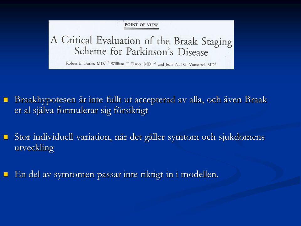 Braakhypotesen är inte fullt ut accepterad av alla, och även Braak et al själva formulerar sig försiktigt