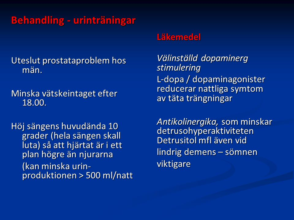 Behandling - urinträningar