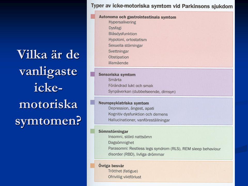 Vilka är de vanligaste icke-motoriska symtomen