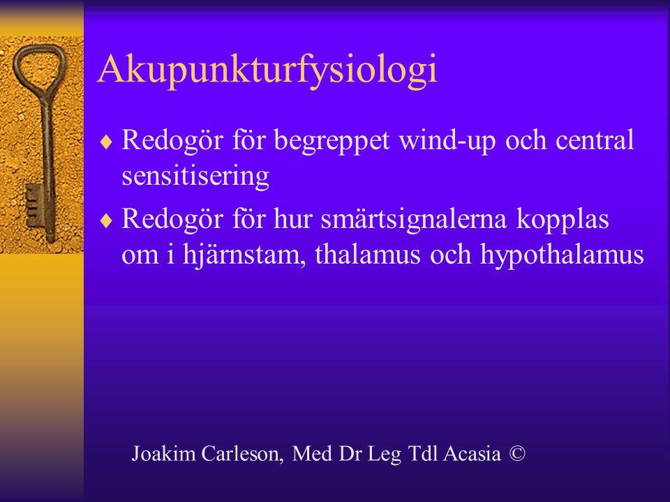 Akupunkturfysiologi Redogör för begreppet wind-up och central sensitisering.