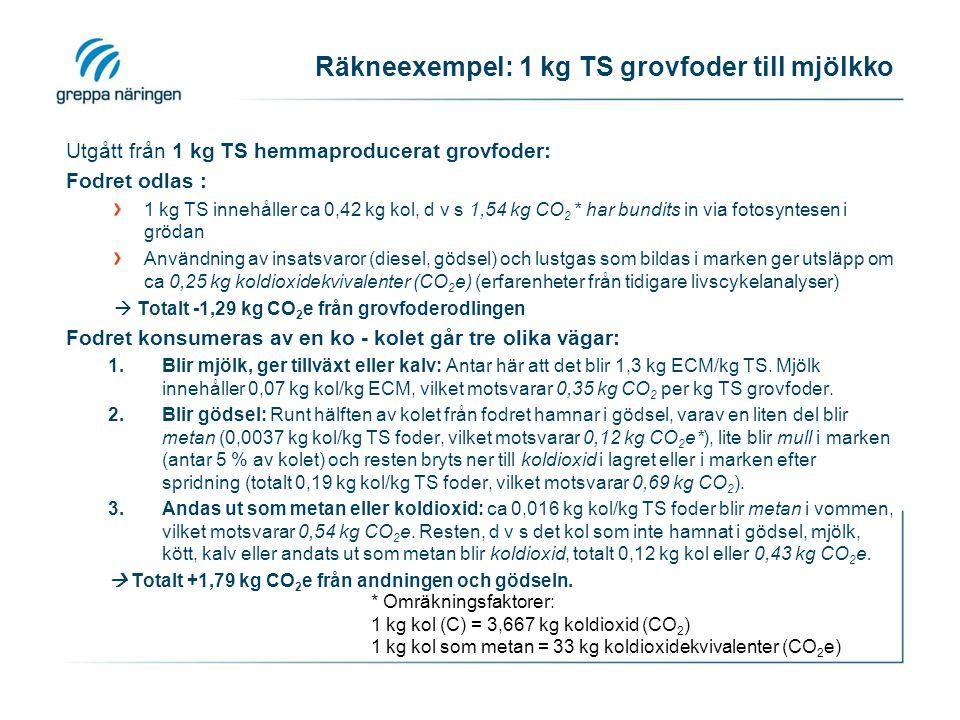 Räkneexempel: 1 kg TS grovfoder till mjölkko