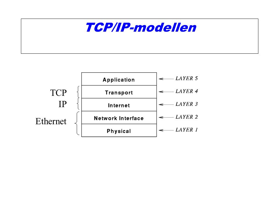 TCP/IP-modellen TCP IP Ethernet