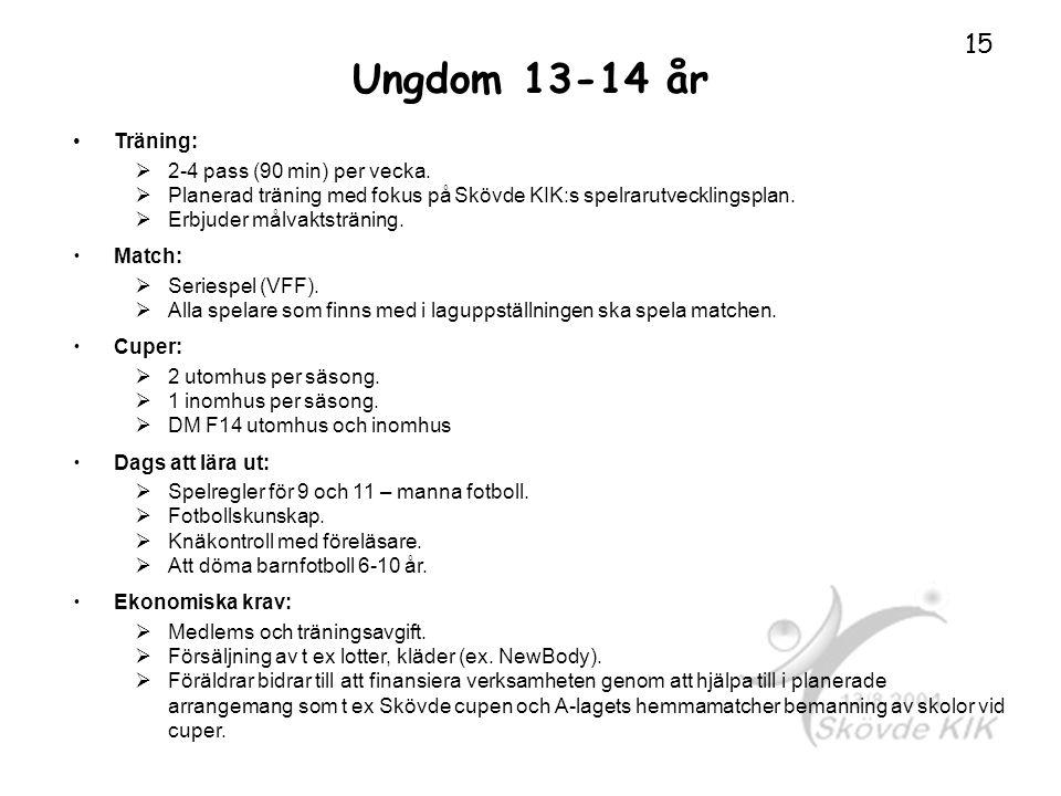 Ungdom 13-14 år Träning: 2-4 pass (90 min) per vecka.