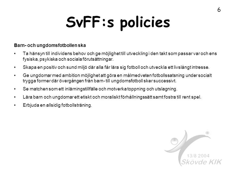 SvFF:s policies Barn- och ungdomsfotbollen ska