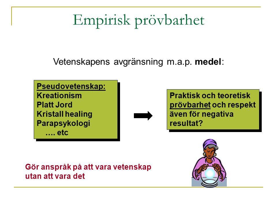 Empirisk prövbarhet Vetenskapens avgränsning m.a.p. medel:
