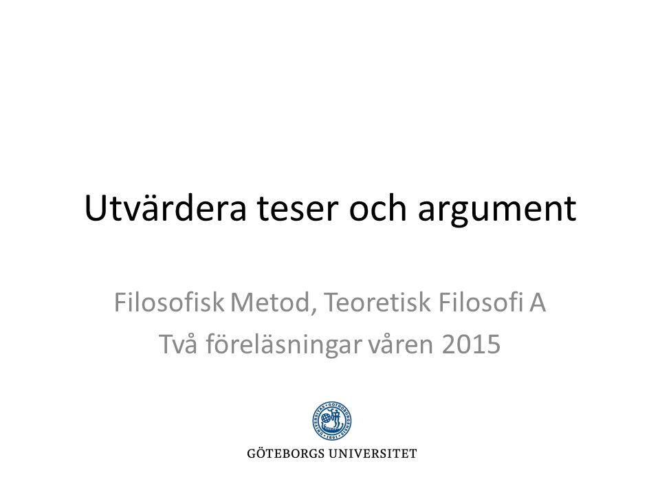 Utvärdera teser och argument