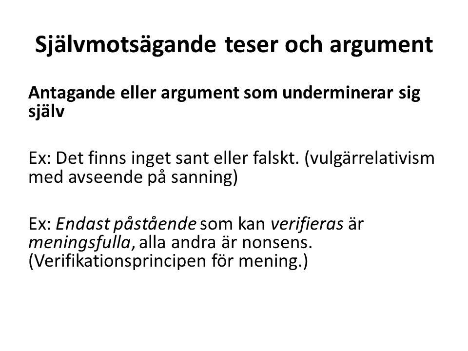 Självmotsägande teser och argument