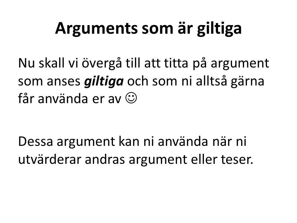 Arguments som är giltiga