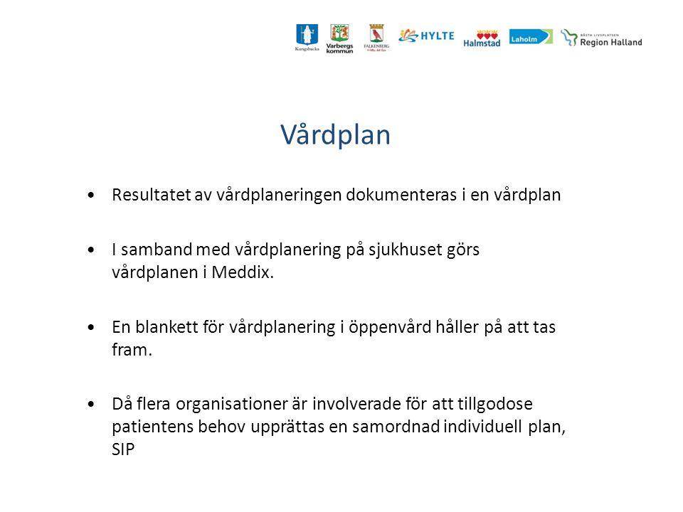 Vårdplan Resultatet av vårdplaneringen dokumenteras i en vårdplan