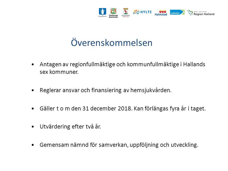 Överenskommelsen Antagen av regionfullmäktige och kommunfullmäktige i Hallands sex kommuner. Reglerar ansvar och finansiering av hemsjukvården.