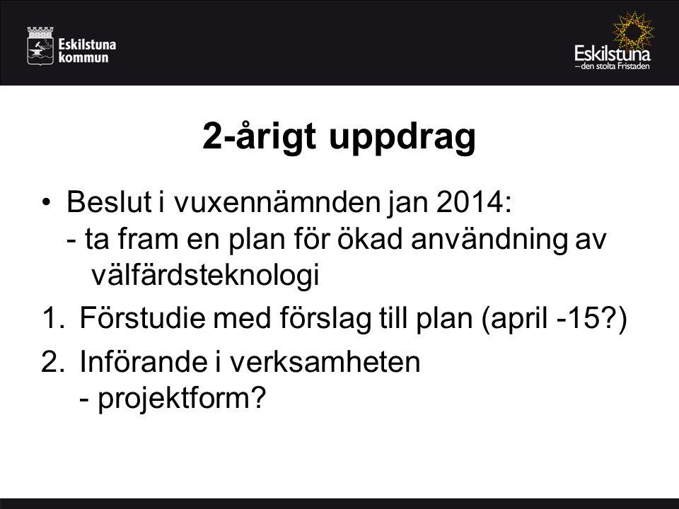 2-årigt uppdrag Beslut i vuxennämnden jan 2014: - ta fram en plan för ökad användning av välfärdsteknologi.