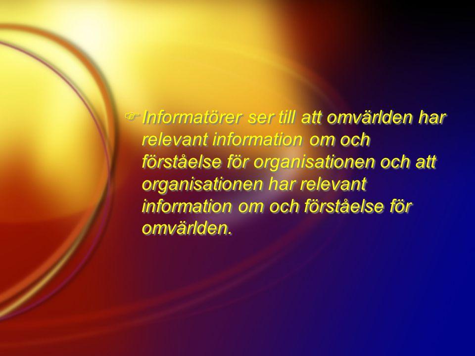 Informatörer ser till att omvärlden har relevant information om och förståelse för organisationen och att organisationen har relevant information om och förståelse för omvärlden.