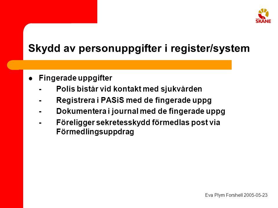 Skydd av personuppgifter i register/system