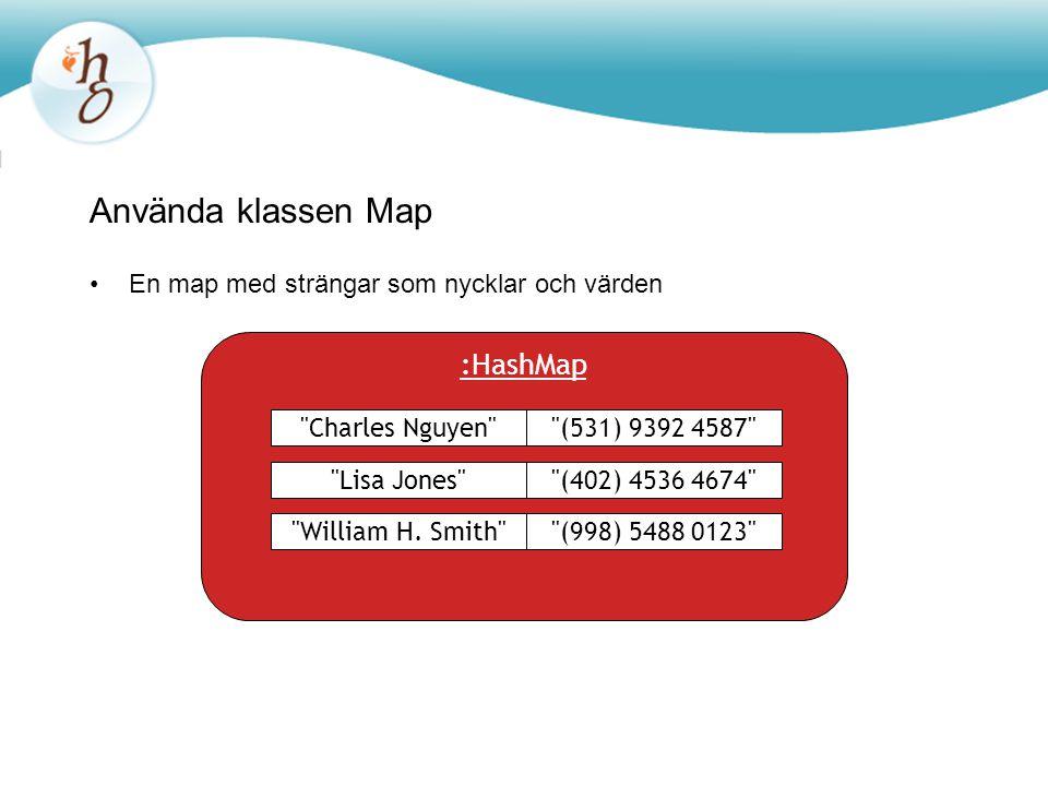 Använda klassen Map :HashMap