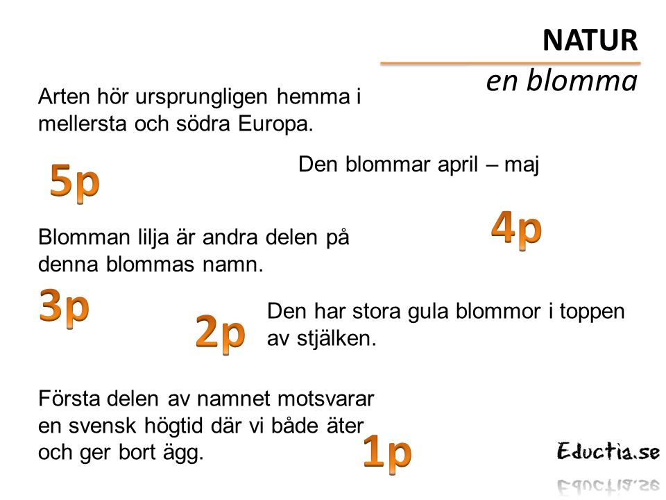 NATUR en blomma. Arten hör ursprungligen hemma i mellersta och södra Europa. 5p. Den blommar april – maj.