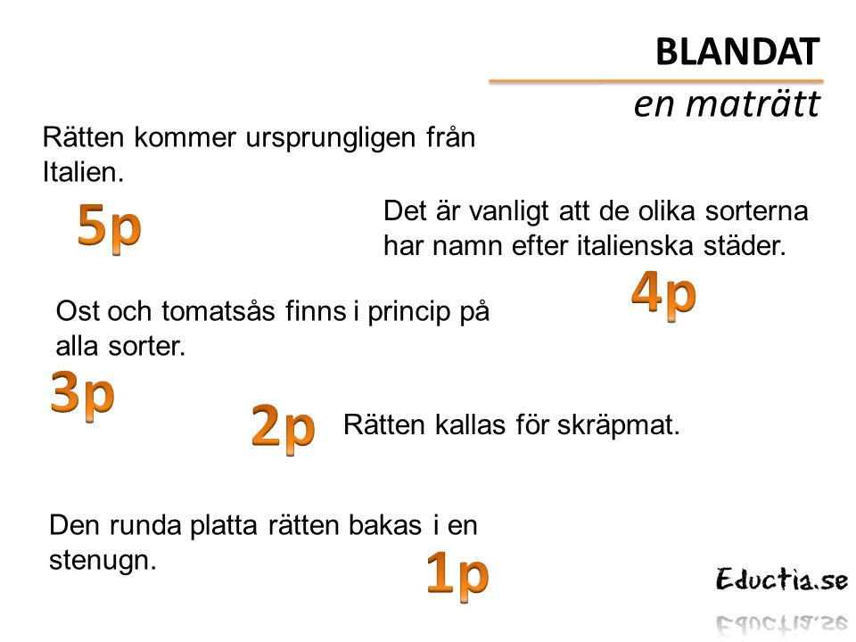 5p 4p 3p 2p 1p BLANDAT en maträtt