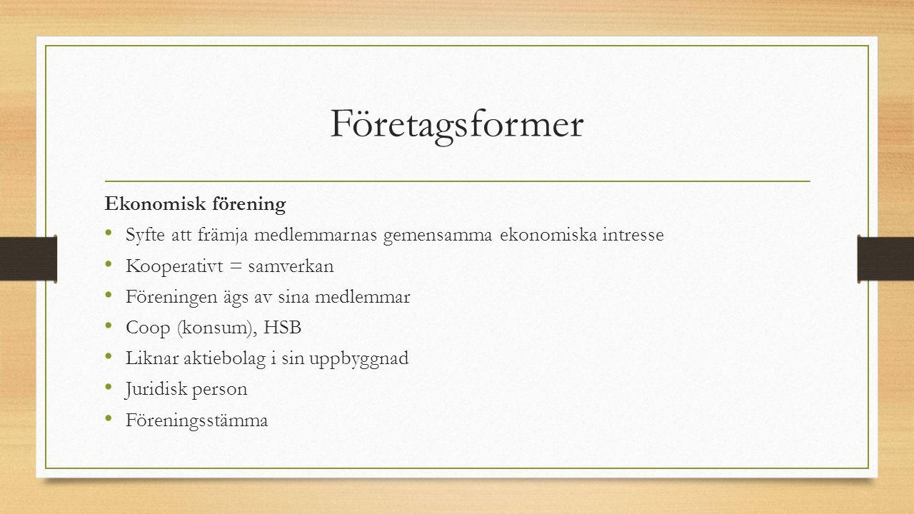 Företagsformer Ekonomisk förening