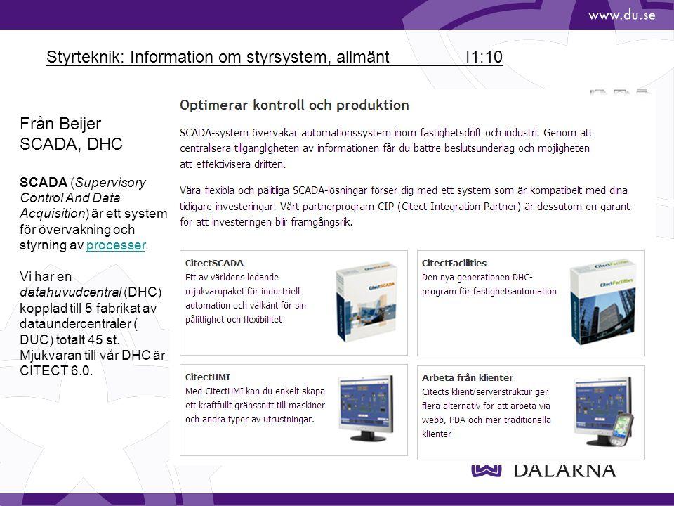 Styrteknik: Information om styrsystem, allmänt I1:10