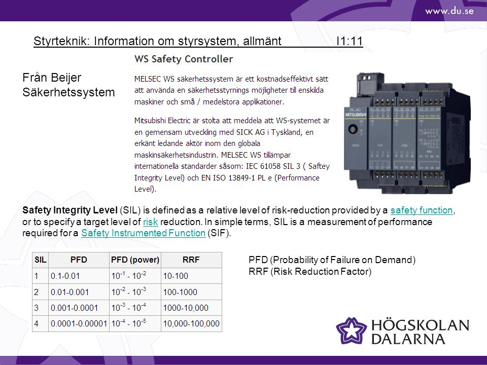 Styrteknik: Information om styrsystem, allmänt I1:11