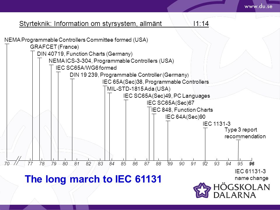 Styrteknik: Information om styrsystem, allmänt I1:14