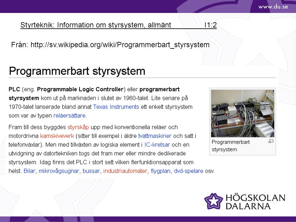 Styrteknik: Information om styrsystem, allmänt I1:2
