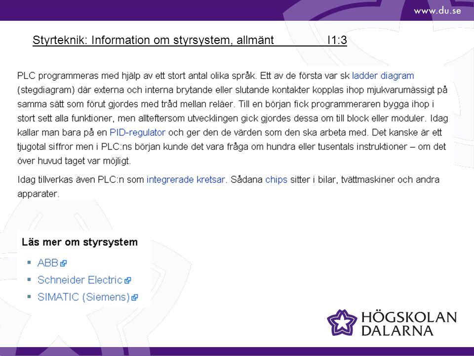 Styrteknik: Information om styrsystem, allmänt I1:3