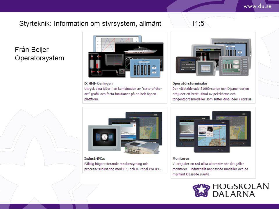 Styrteknik: Information om styrsystem, allmänt I1:5