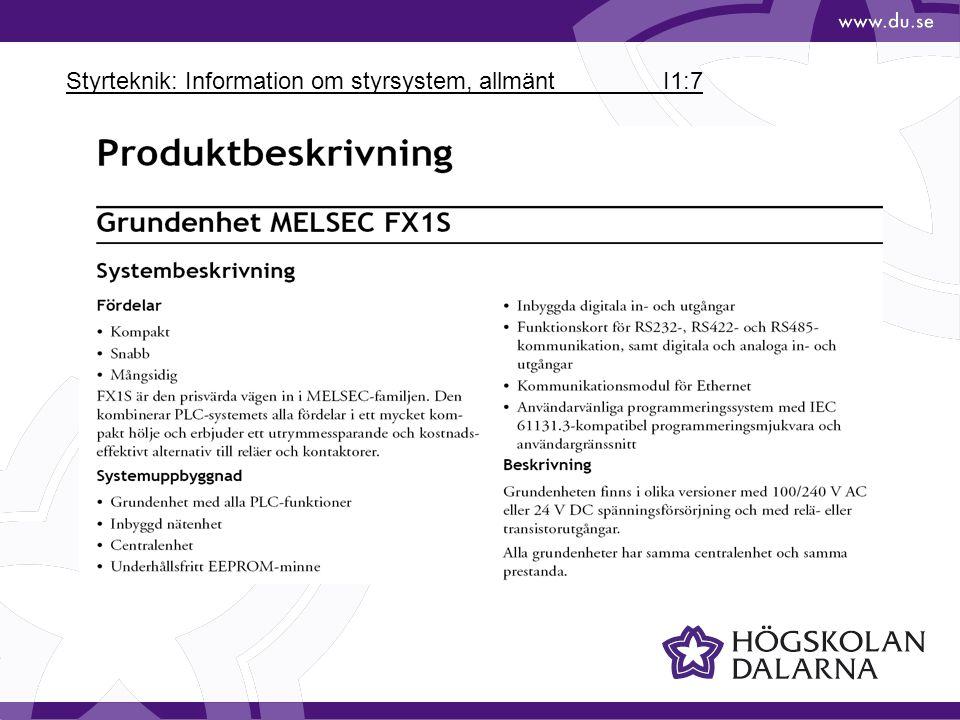 Styrteknik: Information om styrsystem, allmänt I1:7
