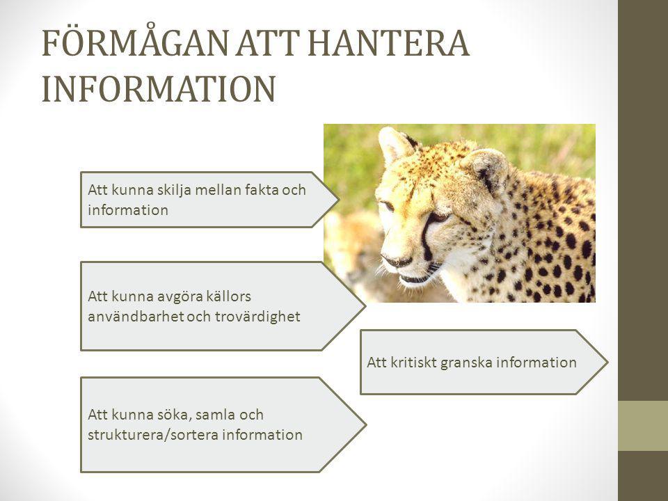 FÖRMÅGAN ATT HANTERA INFORMATION