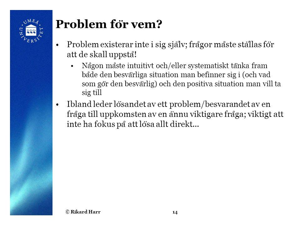 Problem för vem Problem existerar inte i sig själv; frågor måste ställas för att de skall uppstå!