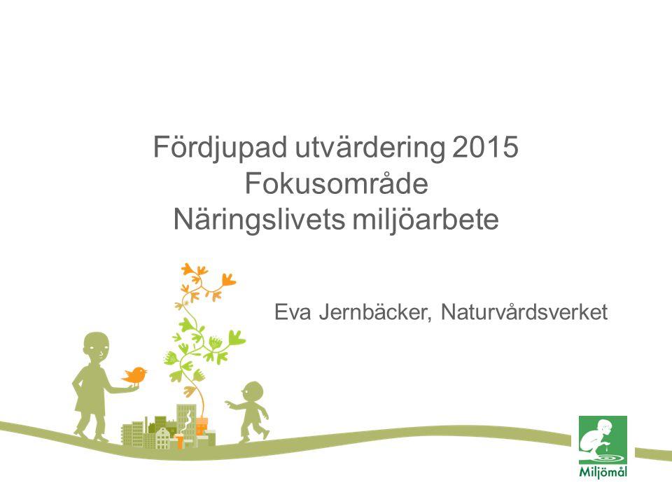 Fördjupad utvärdering 2015 Fokusområde Näringslivets miljöarbete