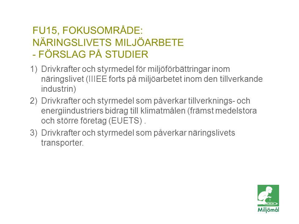 FU15, FOKUSOMRÅDE: Näringslivets Miljöarbete - förslag på studier