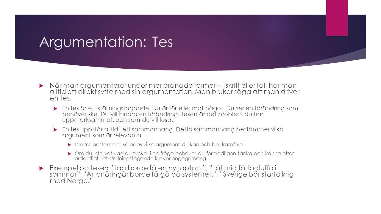 Argumentation: Tes