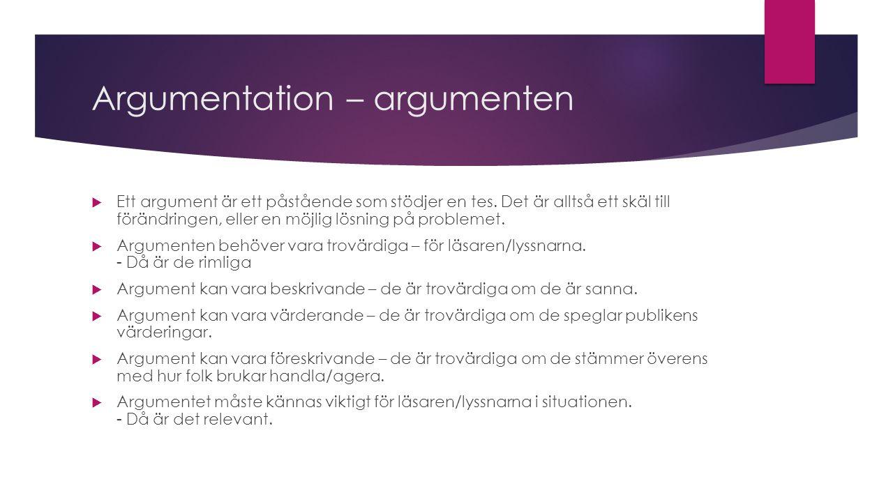 Argumentation – argumenten
