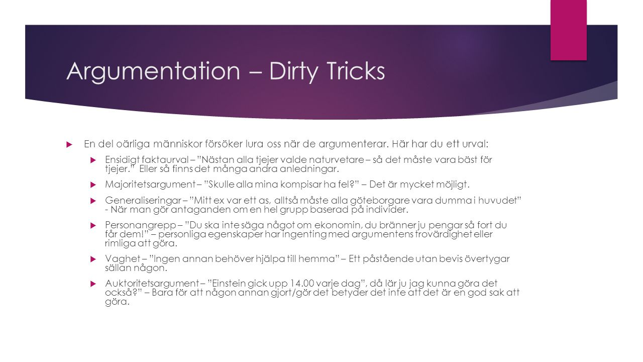 Argumentation – Dirty Tricks