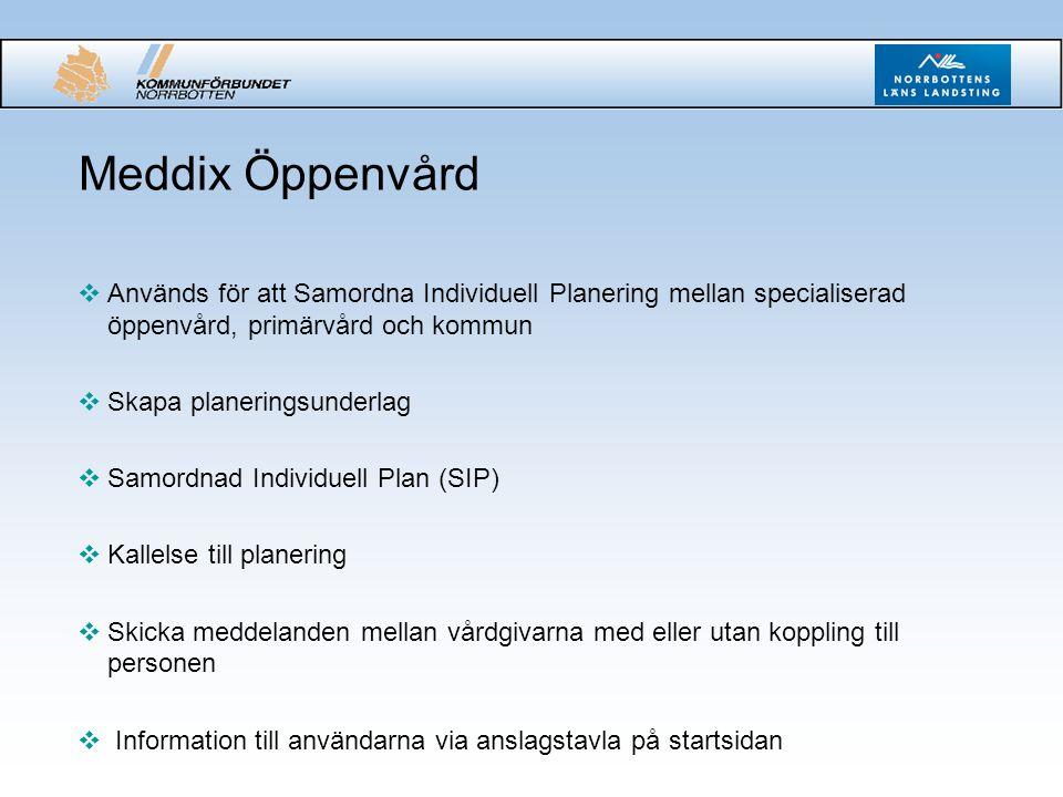 Meddix Öppenvård Används för att Samordna Individuell Planering mellan specialiserad öppenvård, primärvård och kommun.