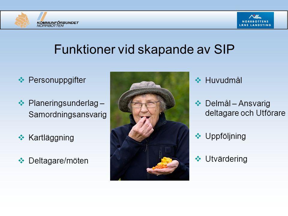 Funktioner vid skapande av SIP